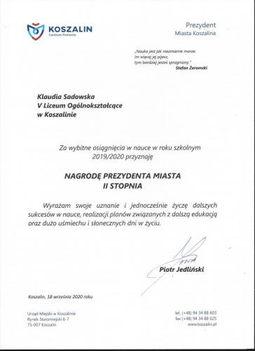 Klaudia - stypendium